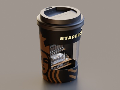 Starbucks Booth rendering isometric cafe coffee starbucks render lowpoly illustration blender blender3d 3d