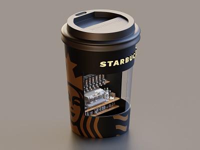Starbucks Booth rendering isometric cafe coffee starbucks render lowpoly illustration blender blender3d 3d