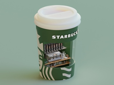 Starbucks package cup starbucks render isometric lowpoly illustration 3d blender blender3d