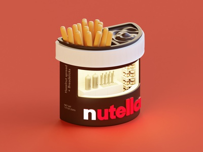 Nutella Booth render logo letters isometric lowpoly illustration 3d blender3d blender
