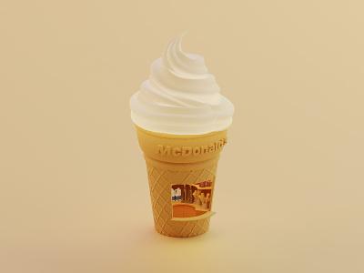McDonald's ice cream mcdonalds icecream isometric lowpoly illustration blender blender3d 3d
