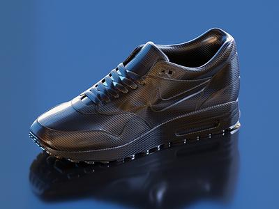 Nike carbon fiber nike air max nike lowpoly isometric 3d illustration blender3d blender