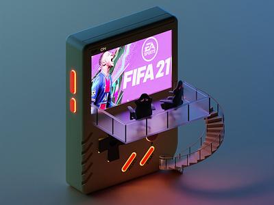 Game boy game fifa design lowpoly isometric 3d illustration blender3d blender