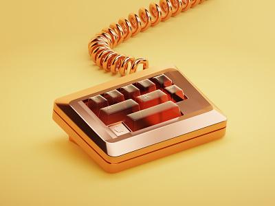 Keyboard golden keyboard lowpoly render isometric illustration 3d blender3d blender