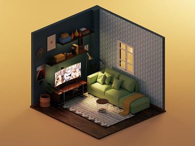 Living room home livingroom render 3d render 3d modeling isometric lowpoly illustration 3d blender3d blender