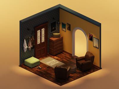 Home entrance house 3d modeling 3d art isometric lowpoly illustration 3d blender3d blender