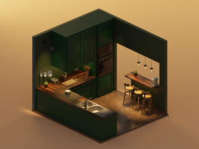 kitchen kitchen isometric lowpoly illustration 3d blender3d blender
