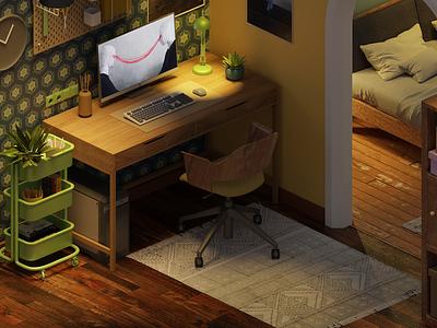 Workstation workstation lowpoly isometric illustration 3d blender3d blender
