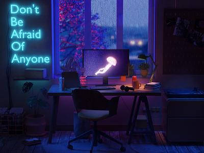 Workstation workspace render cyberpunk neon isometric lowpoly 3d blender3d blender