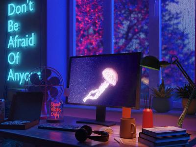 Workstation neon workspace isometric lowpoly 3d illustration blender3d blender