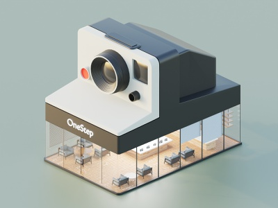 Camera Store polaroid camera illustration lowpoly isometric blender blender3d 3d