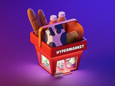 Hypermarket bread milk hypermarket vector lowpoly isometric illustration blender3d blender 3d