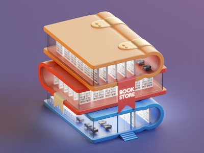 Book Store booth store book design lowpoly isometric illustration 3d blender3d blender
