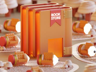 Book Store garden store book lowpoly isometric illustration blender3d blender 3d