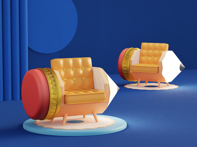 pencil chair chair pencil product design illustration isometric lowpoly blender blender3d 3d