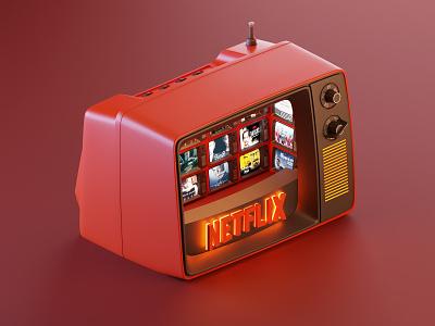 Netflix blender3d tv netflix render modelling art website isometric lowpoly illustration blender 3d