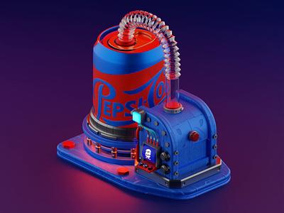 Pepsi cola booth animation pepsi isometric lowpoly illustration blender3d blender 3d