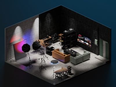 Studio graphic design cycles animation isometric lowpoly illustration blender 3d