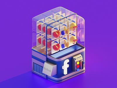 Facebook Machine machine facebook design ui isometric lowpoly 3d illustration blender3d blender