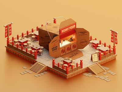 Asian Food food asian design isometric lowpoly illustration blender blender3d 3d