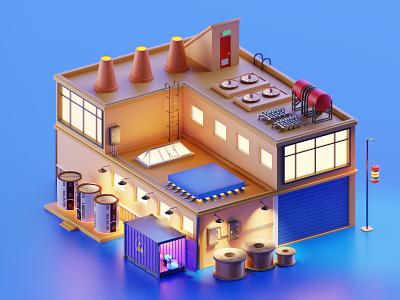 Linedock Motherboard factory motherboard factory ui design 3d lowpoly isometric blender illustration blender3d