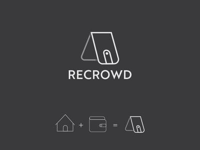 Recrowd Crowdfunding Real Estates branding house wallet black logo funding estates real
