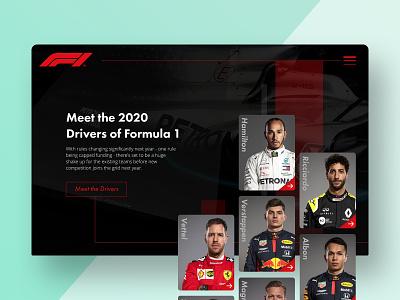 Formula 1 Landing Page UI Concept - 'Meet the Drivers' dark typography ux userinterface desktop app cards ui website design branding ui invisionstudio formula1