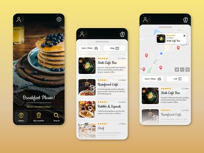 'Breakfast Please' - Breakfast Review App Design UI reviews breakfast concept mobile ux design app design review invisionstudio ui userinterface typography appdesign app