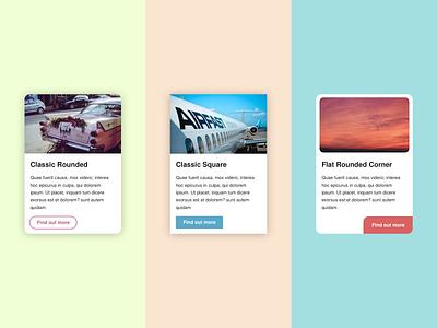 Card UI Examples Round 1: The Classics cards card website design ui ux ux userinterface cta ui ideas ui sketch ui exploration uidesign ui examples card ui button
