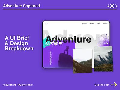 Adventure Captured - UI Design Concept Breakdown abstract ux uidesign sketch website typography branding userinterface design ui