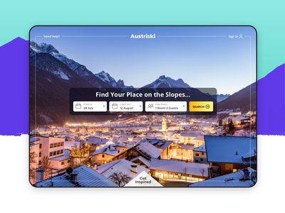 Austriski - Ski Trip Holiday Search Landing Page uidesigns uidesign winter landingpage travelcompany holiday search europe ski travel website sketch branding design ui