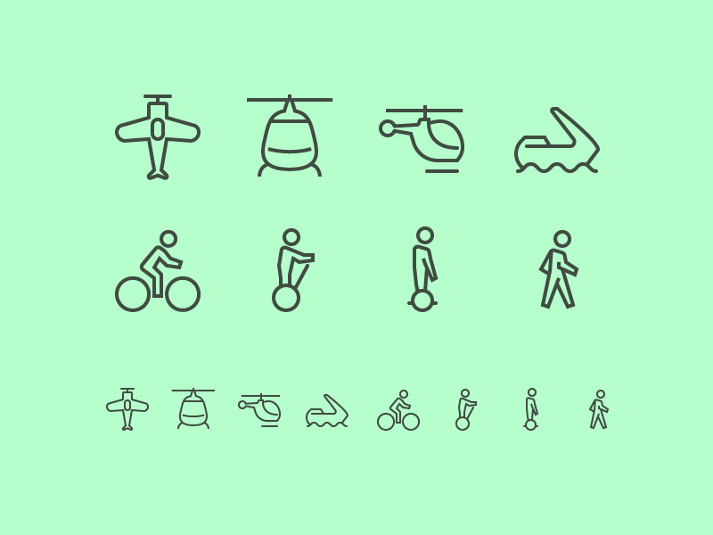 Transport icons 3 bicycle segway overboard walking bike aquatic helicopter war old airplane