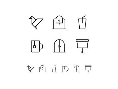 Random icons 14 icons outline shades doors tea coffee maker coffee bird origami