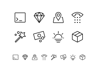 Random icons 17 outline ios package sunset cash enhance wizard telephone location diamond console