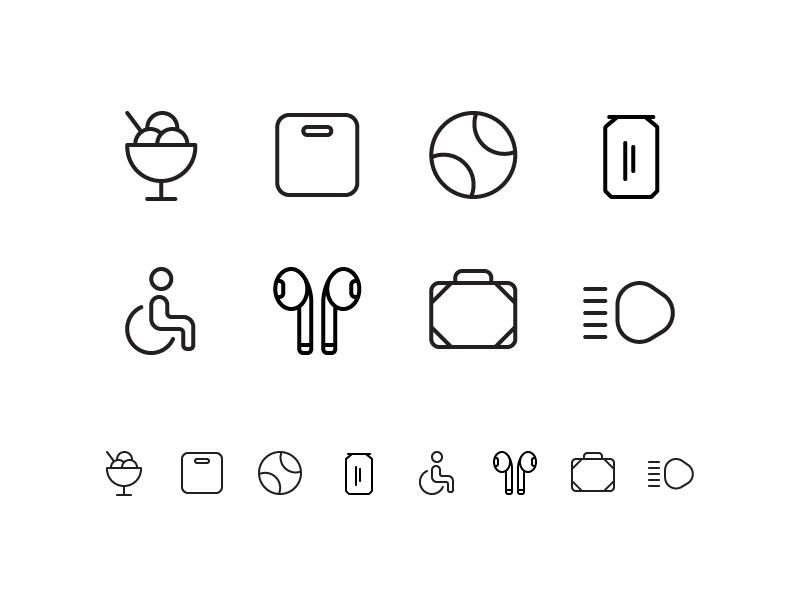 Random icons 20 lights travel airpods wheelchair soda cocke tennis ball ice cream