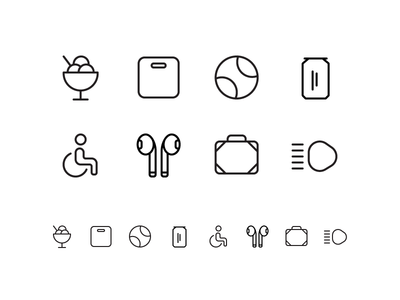 Random icons 20 lights travel airpods wheelchair soda cocke tennis ball ice cream