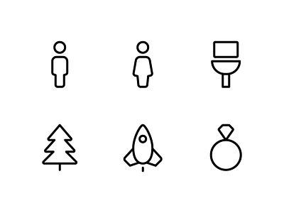 Random icons 21 outline ios ring rocket tree xmas christmas bathroom woman man