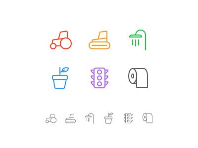 Random icons 23 paper toiler lights flower spa tub shower farm tractor