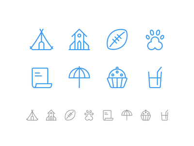 Random icons 26 icons outline ios glass cupcake paper dog ball soccer church camping