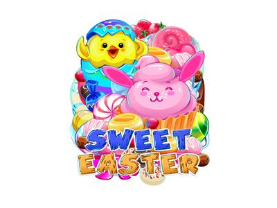 Sweet Easter fun art happy holidays rabbit character holliday digital art game design slot machine jelly donuts illustration logo design digital illustration candy sweets chicken easter bunny easter eggs easter