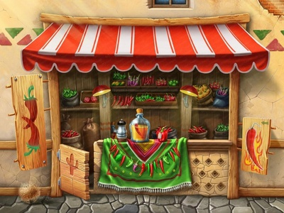 Chili Pepper background art for sale canopy mexican food mexican art red game artist game art raster 2d background illustration city market shop cactus hot tequila chili pepper chili pepper