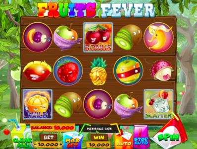 Fruit Fever slot machine slot machine gambling art crew raster coctail pineapple cherry kiwi digital illustration banana apple fruits game design 2d character game ui ui reel 2d art 2d