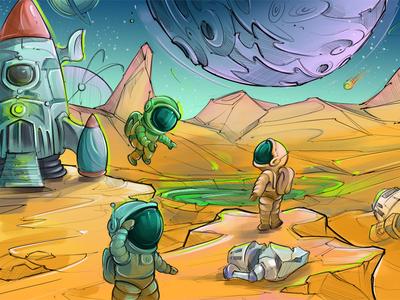 Astronauts design art graphic tablet brush spaceman night life background slot design futuristic explorer lake stars starship gambling design sketch planet mars galaxy spaceship space astronaut