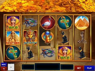 Egypt Themed Slot Machine game art slot digital art digital game reels statue ui ux ui animation animation 2d illustration cleopatra dune scarabs pharaoh africa pyramids cat coins egypt