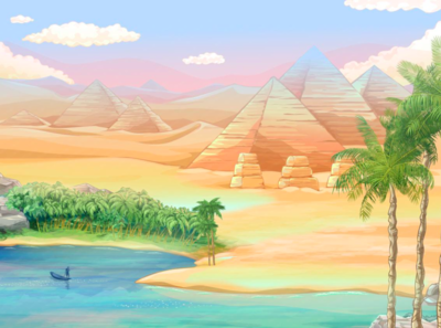 """Era of Gods"" background digital art 2d artist 2d art 2d vector illustration art for sale artoftheday artist background game design slot machine design slot egypt river boat sky palms nile phiramids"