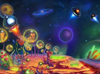 Galaxy art of the day slotopaint cartoon illustration spaceship neon gambling future planet rocket space background of space slot digital art casino game design game art slot machine illustration slot design galaxy
