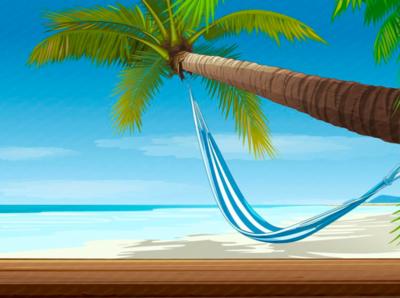 Maldives Travel 2d game art slot machine illustration paradise background vector art waves vacation tropics sun rest ocean island heat fruits diving beach