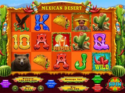 Mexican Desert digital art game artist game ui slot machine art slot machine slot mexica mexican food taco tequila cactus bear chili pepper ui  ux ui game reel game design game art