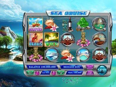 Sea Cruise digital art flowers water art for sale art of the day icons pop up ui illustration slot design game art slot machine ui reel wine shell cruise ship pool cruise sea statues