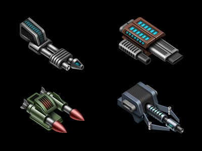 Space weapons art design game online lasers cannons blasters rockets weapons space mobile applications